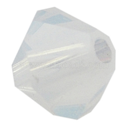 Austrian Crystal Beads, 5301 4mm, Bicone, White Opal, Size: about 4mm long, 4mm wide, Hole: 1mm(X-5301_4mm234)
