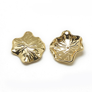 Brass Pendants, Lotus Leaf, Real 18K Gold Plated, 20x18x3mm, Hole: 1mm(X-KK-T032-113G)