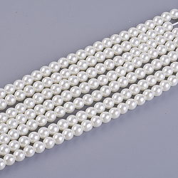 Eco-Friendly Dyed Glass Pearl Bead Strands, Round, Cotton Cord Threaded, Creamy White, 6mm, Hole: 1.2~1.5mm, about 70pcs/strand, 15.7 inches(X-HY-A008-6mm-RB002)