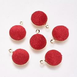 Breloques en laiton, de velours, plat rond, véritable plaqué or, rouge, 14x12x3mm, Trou: 1mm(KK-P138-13C)