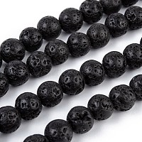 Natural Lava Rock Bead Strands, Round, 8mm, Hole: 1mm, about 50pcs/strand, 15.7 inches