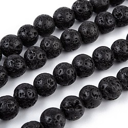 Natural Lava Rock Bead Strands, Round, 8mm, Hole: 1mm; about 50pcs/strand, 15.7 inches