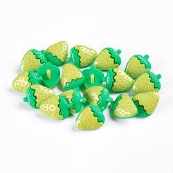 Boutons de fraises en acrylique, 1-trou, teint, 'Chartreuse , 21x15x5mm, Trou: 4x2mm(X-BUTT-E040-03)