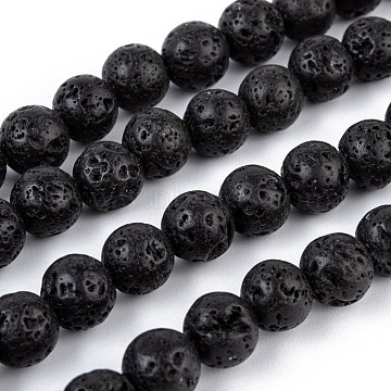 Natural Lava Rock Bead Strands, Round, 8mm, Hole: 1mm; about 50pcs/strand, 15.7 inches(G-R193-18-8mm)