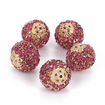 20mm DeepPink Round Resin+Rhinestone Beads