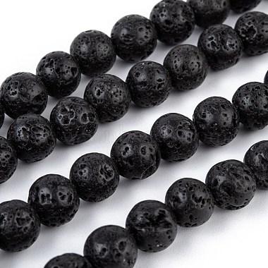 8mm Black Round Lava Beads
