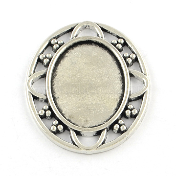 Tibetan Style Alloy Cabochon Settings, Oval, Cadmium Free & Lead Free, Antique Silver, Tray: 25x18mm, 37x30.5x2.5mm(X-TIBE-Q038-014AS-RS)