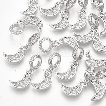 18mm Clear Moon Brass+Cubic Zirconia Dangle Beads