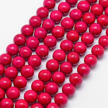 Fossil Beads, Dyed, Round, Crimson, 12mm, Hole: 0.8mm; about 33pcs/strand, 16 inches(G-SR12MM-FS02)