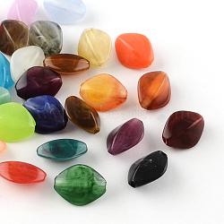 Perles acryliques losanges imitation pierre précieuse, couleur mixte, 16.5x13x8mm, Trou: 2mm(X-OACR-R037A-M)