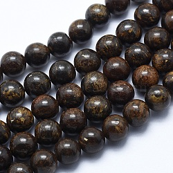 """Bronzite naturel brins de perles, rond, 8mm, trou: 1.2mm; environ 48 pcs/chapelet, 14.7"""" (37.5 cm)(X-G-P370-05-8mm)"""