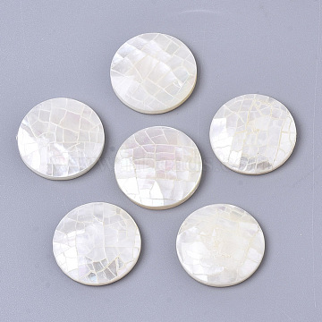 Natural White Shell Mother of Pearl Shell Cabochons, with Freshwater Shell, Flat Round, Seashell Color, 16x3mm(X-SSHEL-N034-42)