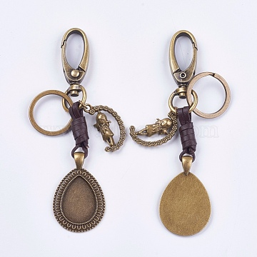 Alloy Keychain Findings, Cabochon Settings, Cadmium Free & Lead Free, Teardrop and Girl, Antique Bronze, Tray: 18x25mm; 115mm(KEYC-K011-44AB)