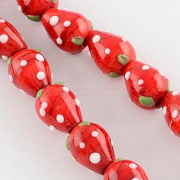 Handmade Lampwork 3D Strawberry Beads, Red, 13~16x11mm, Hole: 2mm(X-LAMP-R109B-15)