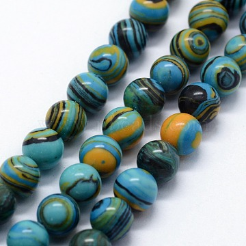 Synthetic Malachite Beads Strands, Dyed, Round, Sky Blue, 10mm, Hole: 1mm; about 38pcs/strand,  14.96 inches(38cm)(G-I199-32-10mm-E)