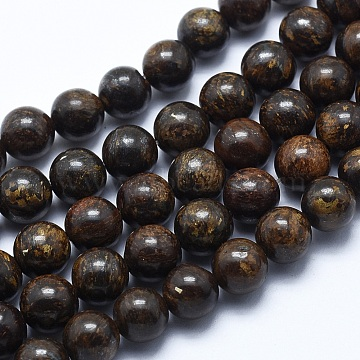 Natural Bronzite Bead Strands, Round, 8mm, Hole: 1.2mm; about 48pcs/strand, 14.7inches(37.5cm)(X-G-P370-05-8mm)