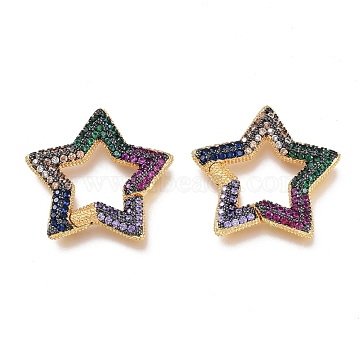 Brass Micro Pave Cubic Zirconia Spring Gate Rings, Star, Golden, Colorful, 23.5x23.5x2.5mm, Inner Diamater:11.5x11.5mm(KK-M206-01G-01)