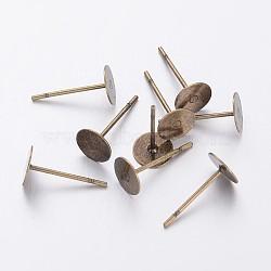 Supports de clou d'oreille, tête en laiton et tige en acier inoxydable, sans plomb et sans cadmium, bronze antique, plateau: 6 mm; broche: 10 mm(X-KK-C2896-AB-1)