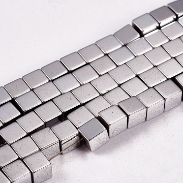 Electroplate Non-magnetic Synthetic Hematite Beads Strands, Cube, Grade AAAA, Platinum Plated, 4x4x4mm, Hole: 1mm; about 91pcs/strand, 16inches(X-G-J170A-4x4mm-01)