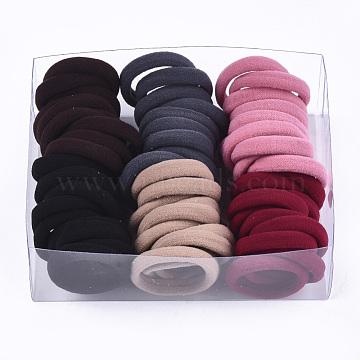 Girls Hair Accessories, Ponytail Holder, Elastic Hair Ties, Mixed Color, 25~28x6~7mm; 60pcs/box; box: 12.7x9.8x4.5cm(OHAR-S199-05D-B)