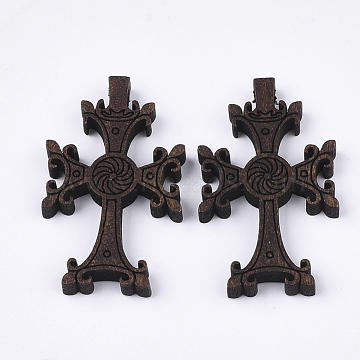 Wooden Pendants, Dyed, Cross, Coconut Brown, 41.5x25x4.5mm, Hole: 1.8mm(X-WOOD-S050-18A)