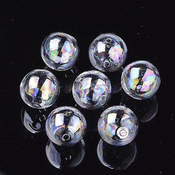 Handmade Blown Glass Globe Beads, AB Color Plated, Round, Clear AB, 16x15.5mm, Hole: 1~2.5mm(DH017J-1-16mm-AB)