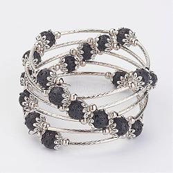 """Cinq boucles enveloppent des bracelets en perles de lave, Avec cordon en laiton, séparateur perle de fer, Coupelles de style tibétain , 2-1/4"""" (58 mm)(BJEW-JB02920)"""