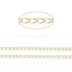 laiton torsadé chaînes, gourmettes, soudé, avec du papier cartonné, ovale, sans plomb libre et nickel et cadmium libre, or, 5x4x0.5 mm; sur 5 m / rouleau(X-CHC-Q001-5x4mm-G)