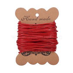 cordon de cuir de vachette , cordon en cuir de bijoux, bricolage bijoux matériau de fabrication, arrondir, teints, rouge, 2 mm(X-LC2MM006-01)