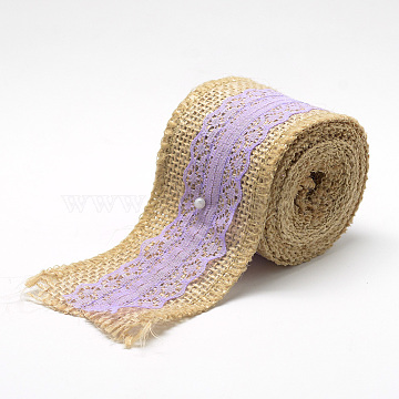 Burlap Ribbon, Hessian Ribbon, Jute Ribbon, with Cotton Ribbon, for Jewelry Making, Lilac, 2 inches(50mm); about 2.187yards/roll(2m/roll), 12rolls/bag(OCOR-R071-11A)