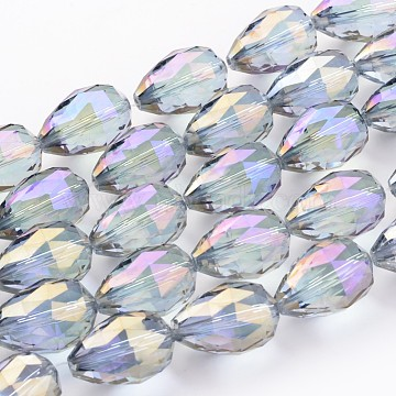 Lilac Faceted Drop Full Rainbow Plated Electroplate Glass Bead Strands 25x18mm