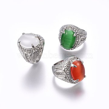 304 Stainless Steel Cat Eye Wide Band Rings, with Rhinestones, Mixed Color, Stainless Steel Color, Size 5~8, 15~18mm(RJEW-H128-28P)