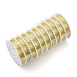 Fil de bijoux en cuivre, Plaqué longue durée, or clair, 26 jauge, 0.4 mm; 10 m / rouleau(X-CWIR-Q006-0.4mm-G)
