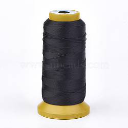 Polyester Thread, for Custom Woven Jewelry Making, Black, 1mm; about 230m/roll(NWIR-K023-1mm-14)