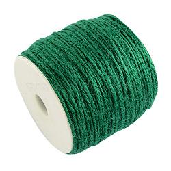 Cordon de chanvre coloré, 3 pli, pour la fabrication de bijoux, verte, 2 mm; 100 m / rouleau(OCOR-R008-2mm-005)