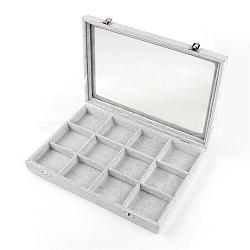 Boîtes d'affichage en velours et en bois, avec la glace, 12 grilles avec des boîtes de présentation de bijoux de couvercle, rectangle, grises , 24x35x4.5 cm(ODIS-R003-11)