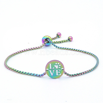 """Bracelets réglables en 201 acier inoxydable, bracelets bolo, avec des chaînes de boîte, plat rond avec le mot que j'aime, multicolore, 9-1/2"""" (24 cm)(STAS-S105-JN650)"""