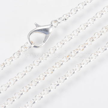 Iron Rolo Chains Necklace Making, with Lobster Clasps, Soldered, Silver Color Plated, 23.6 inches(60cm)(X-MAK-R017-60cm-S)