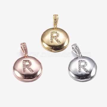 Mixed Color Flat Round Brass+Cubic Zirconia Pendants