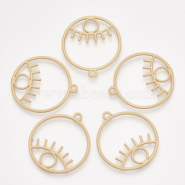 Smooth Surface Alloy Pendants, Ring with Eye, Matte Gold Color, 39x35x2mm, Hole: 2mm(X-PALLOY-T067-57MG)