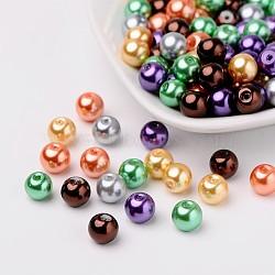 Halloween mix nacrées verre perles de nacre, couleur mixte, 8mm, trou: 1 mm; environ 100 PCs / sachet (HY-X006-8mm-07)