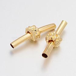 Perles tubulaires courbes en laiton, avec des perles en alliage de fleurs, or clair, 35x4mm, Trou: 3mm(KK-J201-11KCG)