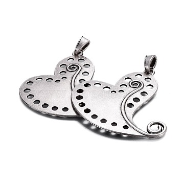 Thai Sterling Silver Plated Heart Alloy Big Pendants