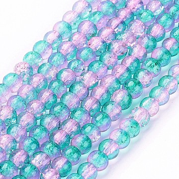 Crackle Glass Beads Strands, Round, Dark Cyan, 4mm, Hole: 1.1~1.3mm, 31.4inches(X-CCG-Q002-4mm-06)