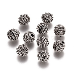 Alloy Beads, Rondelle, Antique Silver, 10mm, Hole: 2mm(PALLOY-G257-03AS)