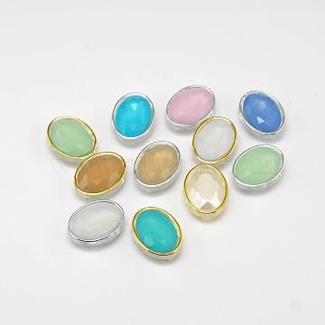 Sew on Taiwan Acrylic, Multi-strand Links, Garment Accessories, Faceted, Oval,Mixed Color,20x15x7mm, Hole: 1mm(X-SA22-13x18-A)