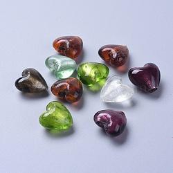 Perles en verre d'argent feuille manuelles, pour faire des cadeaux pour la fête des mères, cœur, couleur mixte, environ 20 mm de large, Longueur 20mm, épaisseur de 13~14mm, Trou: 2mm(X-SLH20MMY-1)