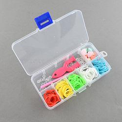 Bandes de métier à tisser colorés bricolage boîte avec des bandes de caoutchouc et accessoires, couleur mixte, 130x68x22mm(DIY-R009-05)