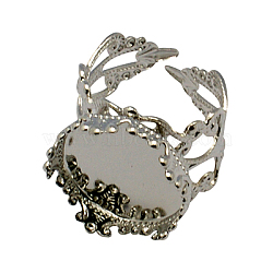 Cuff Brass Ring Cabochon Settings, Filigree Ring Components, Platinum, Tray: 15mm; 18mm(X-KK-G020-P)