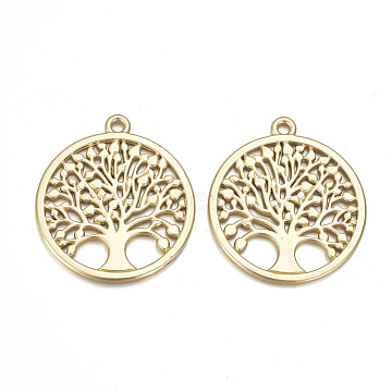 Alloy Pendants, Matte Style, Flat Round with Tree of Life, Cadmium Free & Lead Free, Real 14K Gold Plated, 38.5x34.5x2mm, Hole: 2.5mm(X-PALLOY-Q357-01MG-RS)